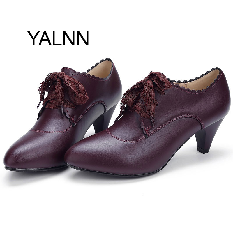 YALNN New Mature Wine Red Fashion Women Leather High heel Shoes Women Winter Office Lady High Heels Shoes Pumps for Girls(China (Mainland))