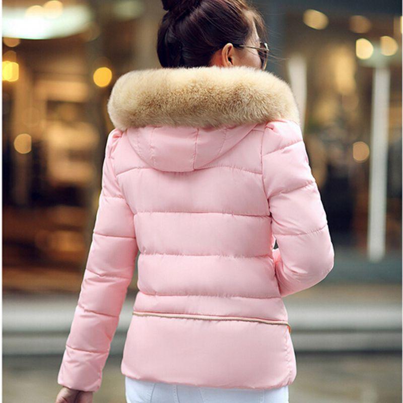 Зима куртка сплошной, приталенный тёплый большие мех воротник капюшон женщины зима пальто женщины пуховик и парки Casaco Feminino CCC394W