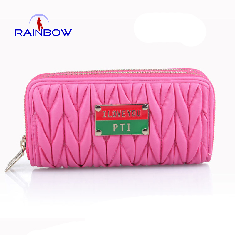 Fashion Women Day Clutches Women Wallets Double Layers Zipper Standard Wallet 4 Colors High Quality Coin Purse Card Holder(China (Mainland))