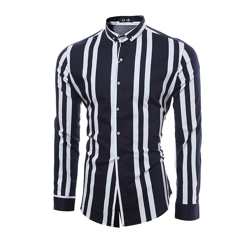 Brand clothing 2016 Men Shirt Stripe Hit Color Long-Sleeve Shirt Casual Slim Fit Shirt Europe/US size