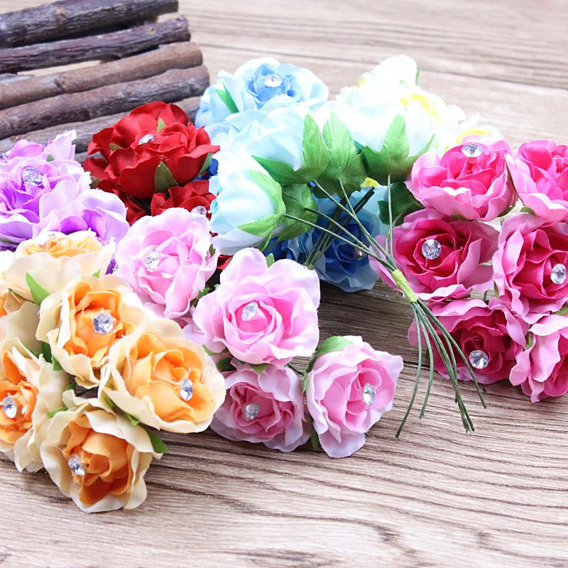 6pcs/ lot 3.5cm Cheap Silk Artificial Peony Rose Flowers bouquet For Wedding Decoration DIY Decorative Scrapbooking Craft Flores(China (Mainland))