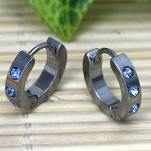 2 Pair Circle Huggie Blue / Red Crystal Stainless Steel Hoop Huggie Earrings Coll Mem Women Earring Studs(China (Mainland))