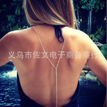 Fashion Simple Sexy Cheap Silver Beach Bikini Rhinestone Back Body Chain Necklace for Women Jewelry