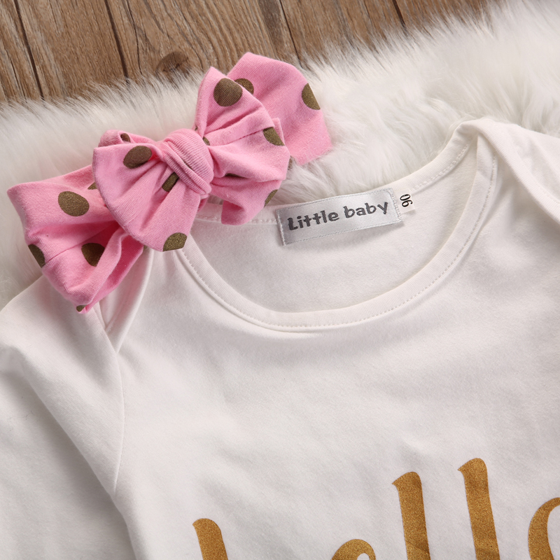 Baby Sets 3Pcs Newborn Infant Baby Sets Girls Shirt and Pants Headband Gold Dots Pink Bowknot Outfit Baby Cute Clothes