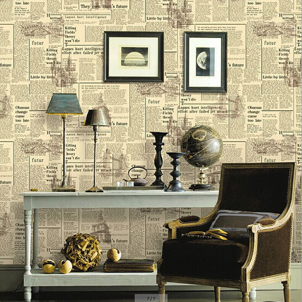 New vintage newspaper wallpaper bar cafe decoration wall for Decoration adhesif mural