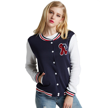 2016  New Fashion Baseball Uniform Letters a Loose Color Block Stitching Stand-up Collar Striped Long-Sleeved Jacket(China (Mainland))