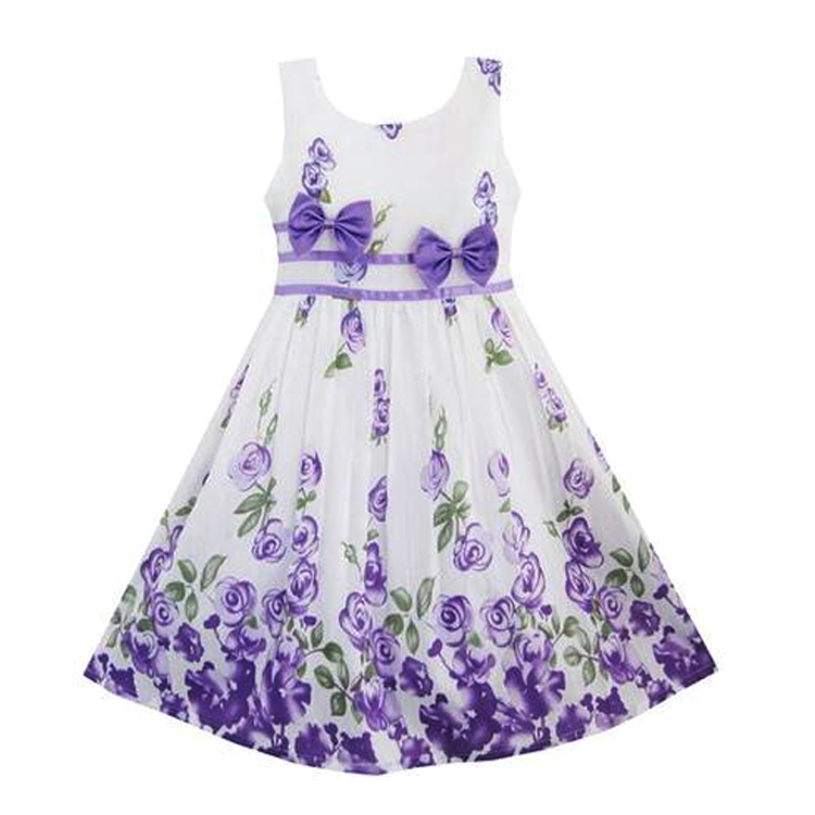 Brand New Girl Dress Casual Kids Clothes 2015 Fashion Sleeveless Bow Summer Dress For Girl Sundress Floral Printed Girls Clothes(China (Mainland))