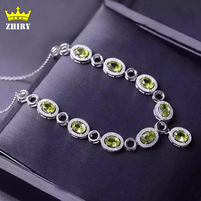 100% natural green Peridot Pendant Necklace Genuine 925 sterling silver Semi Precious stone Fine jewelry Birthstone<br><br>Aliexpress