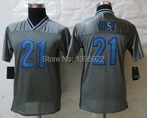 Youth Reggie Bush Jersey 21 Football Grey Vapor Embroidery Logos Size S-XL Accept Drop Shipping No Tax mix order free shipping(China (Mainland))