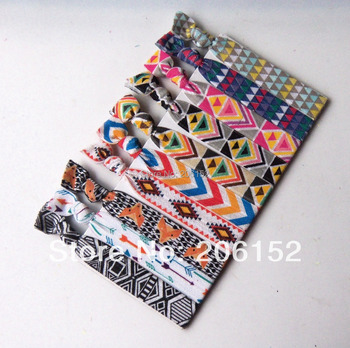 HOT!!!  Fashion AZTEC Printed  FOE Hair Tie, fold over elastic hair tie, elastic hair bands,100styles pick up 10pcs/style mixed