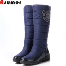 ASUMER 2016 Cotton fashion waterproof snow boots women's knee high boots flat winter boots platform fur shoes women size 34-44(China (Mainland))
