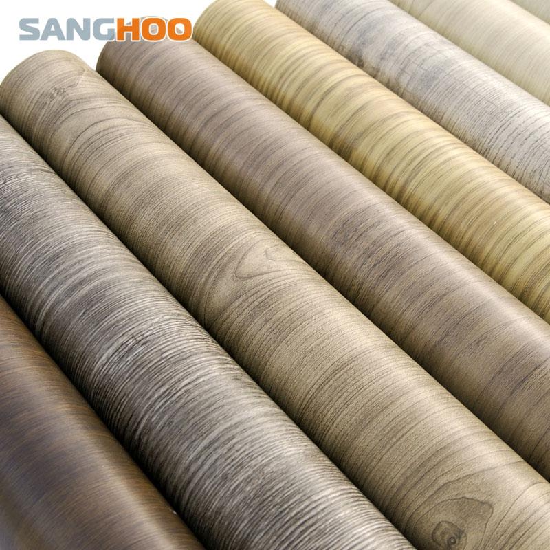 Self adhesive PVC Wallpaper waterproof Wall sticker Wardrobe furniture Stickers of Kitchen cabinet wood grain wooden wall paper(China (Mainland))