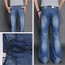 2014  Fashionable Casual Big Men Flare Pants jeans Male Loose Denim Long Trousers Sexy Cool Sku9036(China (Mainland))