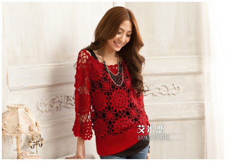 Free shipping Plus Size Women Hand Crocheted Batwing ...