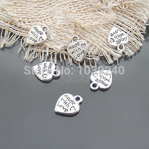 E74 Free Shipping Lot 50 Silver MADE WITH LOVE CZ Heart Charms Pendants Necklace Beads DIY(China (Mainland))