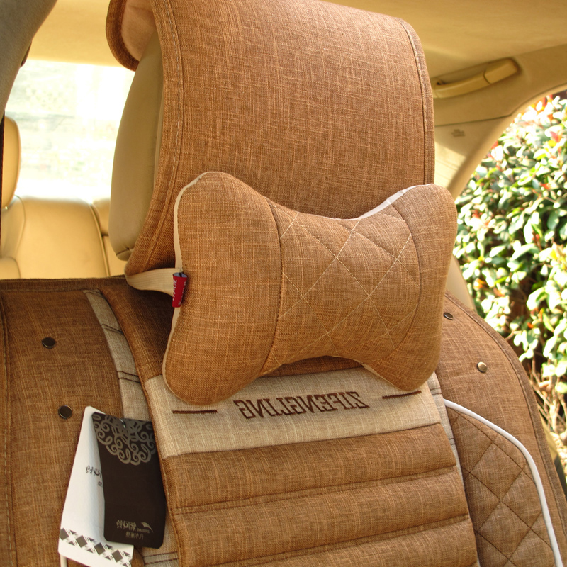 Quality linen car headrest four seasons car pillow kaozhen neck pillow lumbar support decoration(China (Mainland))