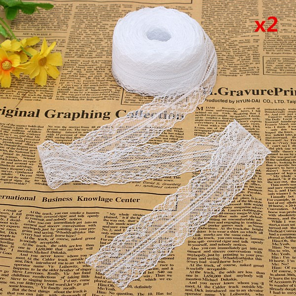10 Yard Embroidered Net Lace Trim Ribbon White Color 1.57 Inches wide(China (Mainland))