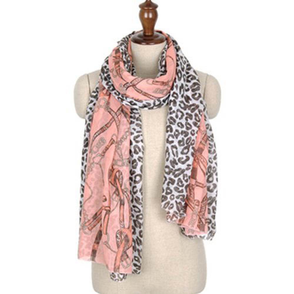USA Stock! Hot! Fashion Leopard Grain Chain Scarf Voile Cotton Silk Scarf Wraps Shawl Stole(China (Mainland))