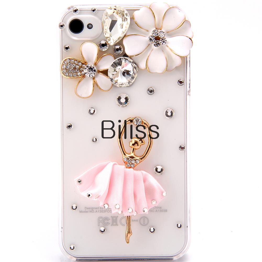 Fashion 3D Cell Phone Cases Cover for Iphone 5/5S Elegant Bling Rhinestone Flower and Ballet Girl in White/Pink Dress(China (Mainland))