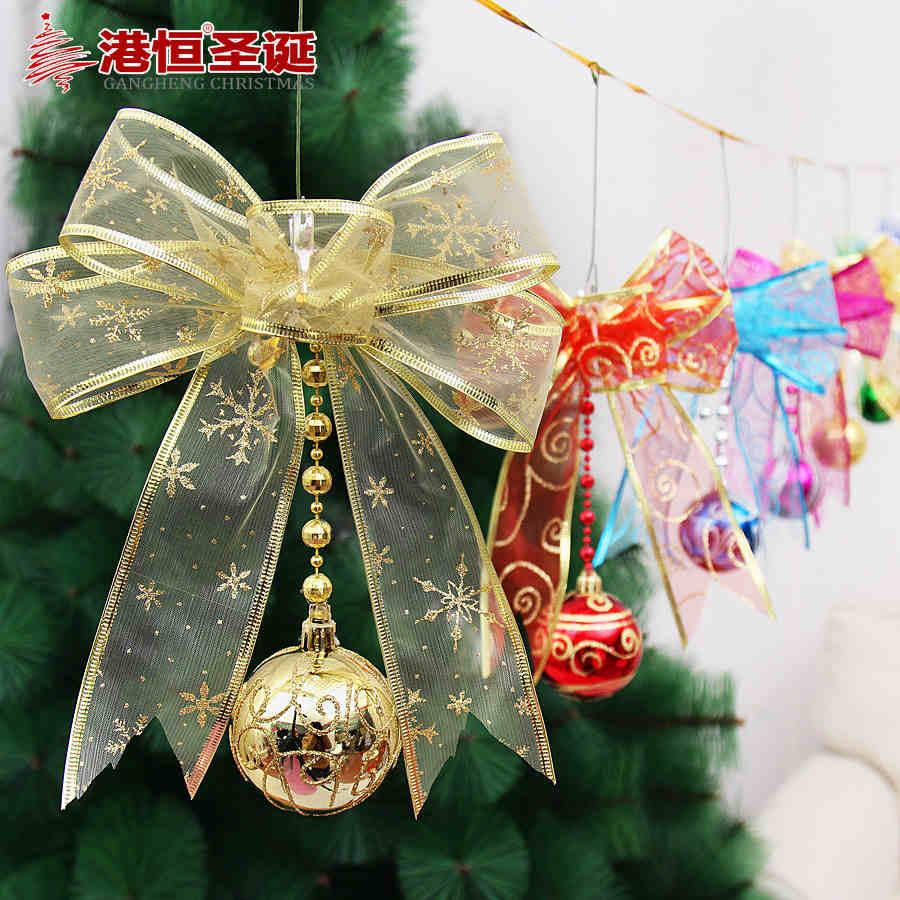 Christmas Tree Ornament 23*22cm Gauze Element Balls Chain Bowknot Christmas Decorating Accessories 60g XmasBT032(China (Mainland))