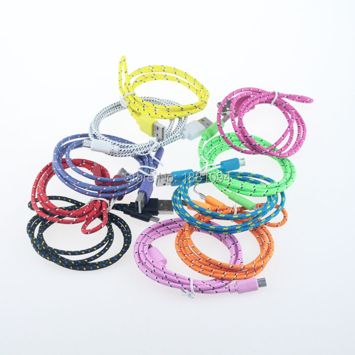 USB Fabric Braided Cable Charger For Iphone Adapter 1M 3FT Colorful USB Data Cable For Iphone 4 4s for Ipad 2 3 #45 200pcs/lot(China (Mainland))