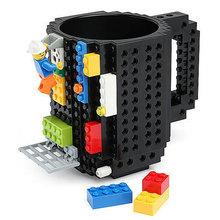 DIY New Drinkware Building Blocks Mugs DIY Block Puzzle Mug 1Piece Build-On Brick creative Mug Lego Type Coffee Cup(China (Mainland))