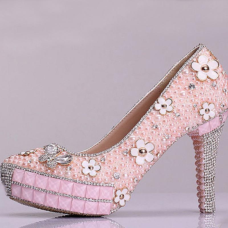 2015 New Design Bridal Shoes Pink Pearl Rhinestone Wedding Shoes Graduation Sweetness Prom Shoes Cheap Bridesmaid Shoes(China (Mainland))