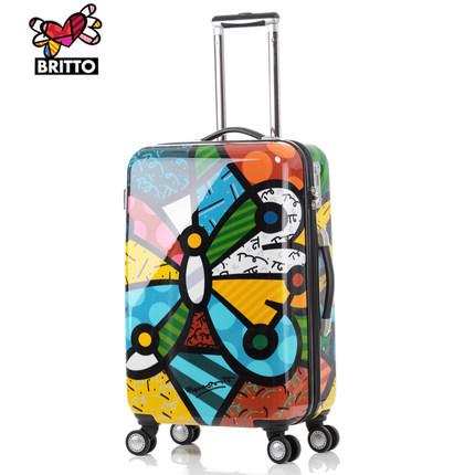 Free shipping. Graffiti tidal pull rod box universal wheel suitcases Japan and South Korea lovely suitcase graffiti boarding box(China (Mainland))
