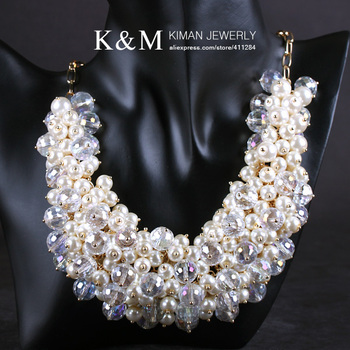 KIMAN Jewelry New Fashion Gold Pure Handmade Numerous Pearl and Crystal Necklace for Women Dress Matching 2 Colours NK-01131
