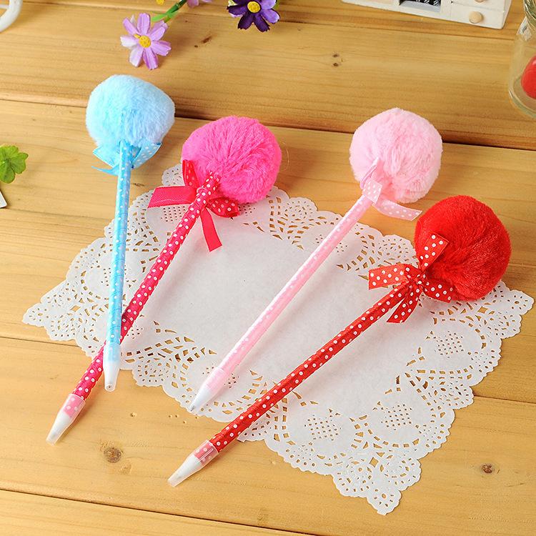 2015 Parker Stationery Specials, Free Shipping,2014fashion Lovely Bow Plush Ball Point Pen Lolita, Multicolor Cartoon Ballpoint(China (Mainland))