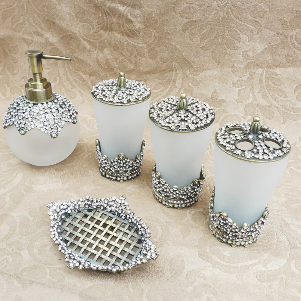 Popular rhinestone bathroom set buy cheap rhinestone for Accessoire salle de bain retro