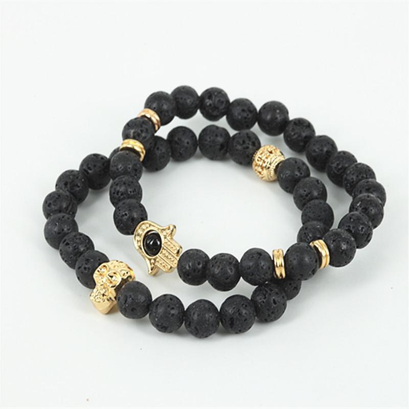 2015New Product 2PCS/Lot Nature Stone Bracelet,8MM Black Lave Stone Beads Gold Skull Bracelet, Hamsa Hand Bracelet For Men/Women(China (Mainland))