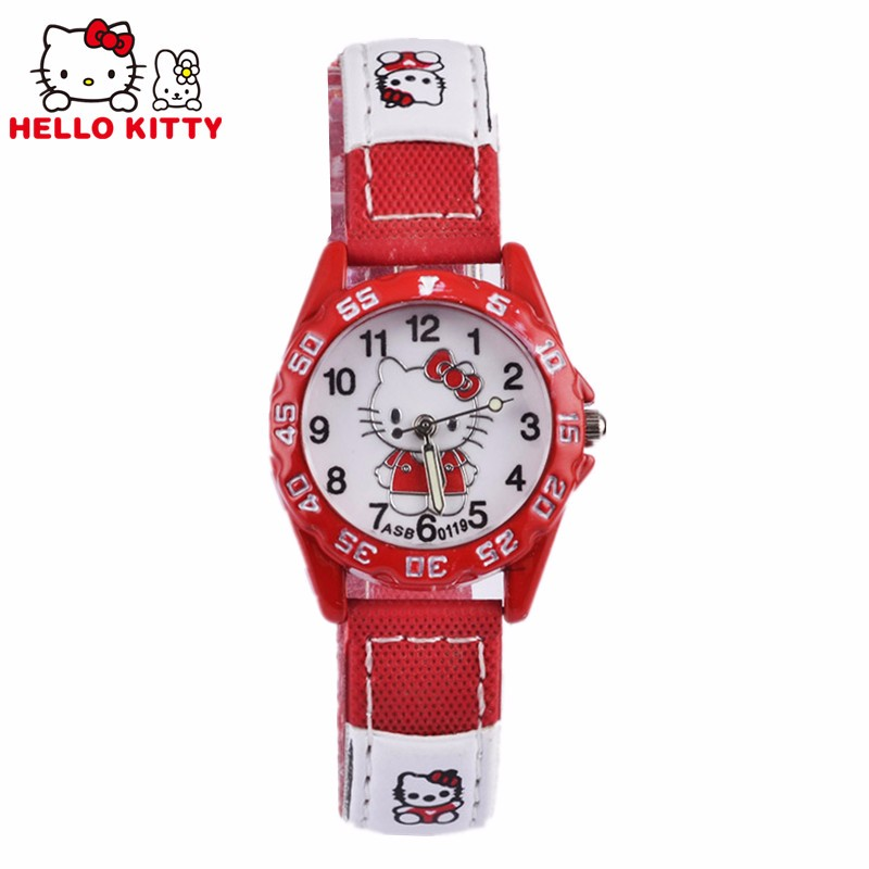Children Hello Kitty watch Quartz Wristwatch 2017 Pink&red&rose Red Hellokitty Clock 3 colors Leather Strap montre enfant(China (Mainland))