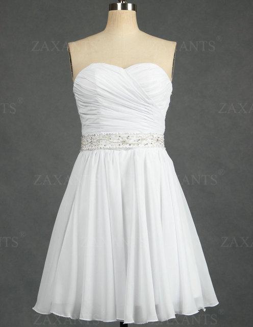 Hot Sale Beach Chiffon Mini Short Wedding Dresses Discount 50% Save Up TWD037