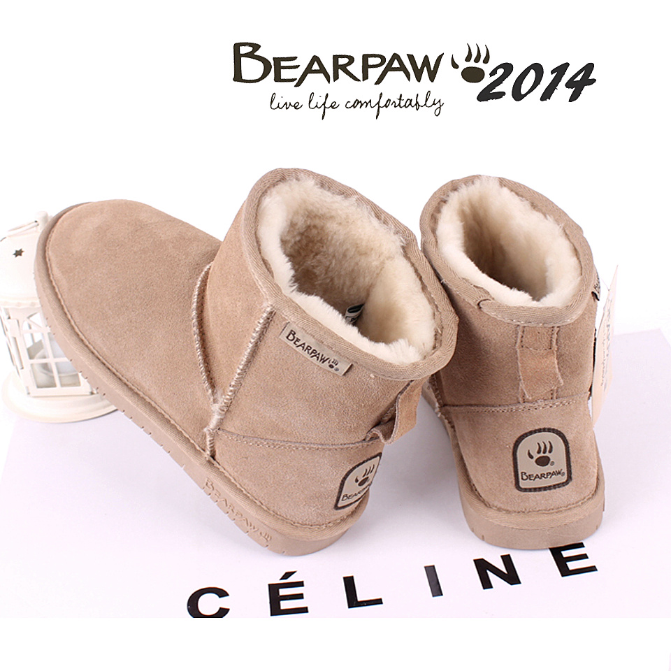 2014 bearpaw boots cowhide wool women boots leather medium-leg cow muscle boots flat slip-resistant winter boots  and shoes