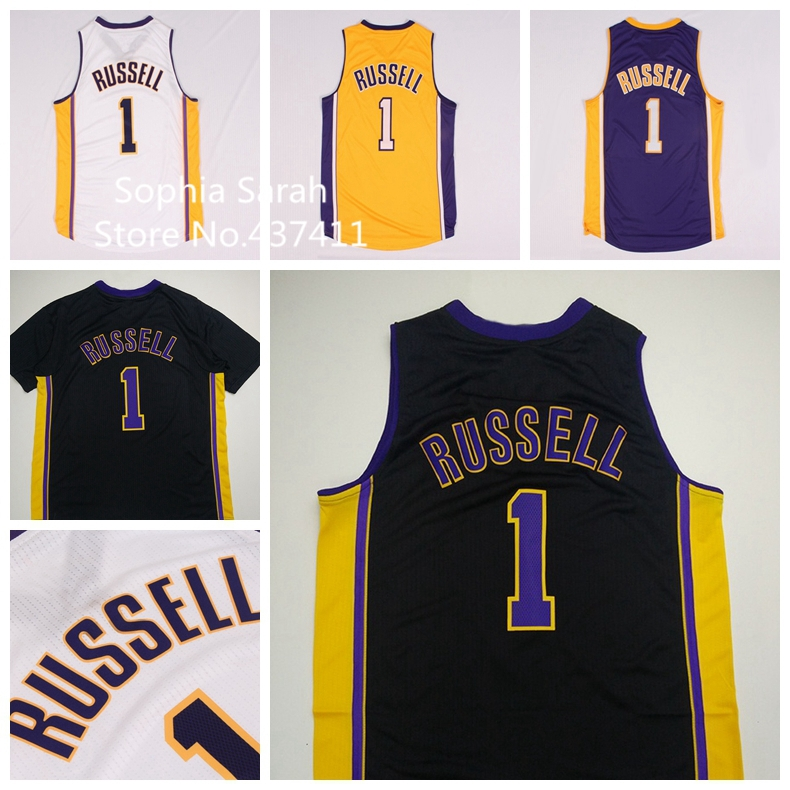 Los Angeles #1 D Angelo Russell White Yellow Purple Black Basketball Jersey, d angelo russell jersey,S-XXL,New Arrival !!!(China (Mainland))