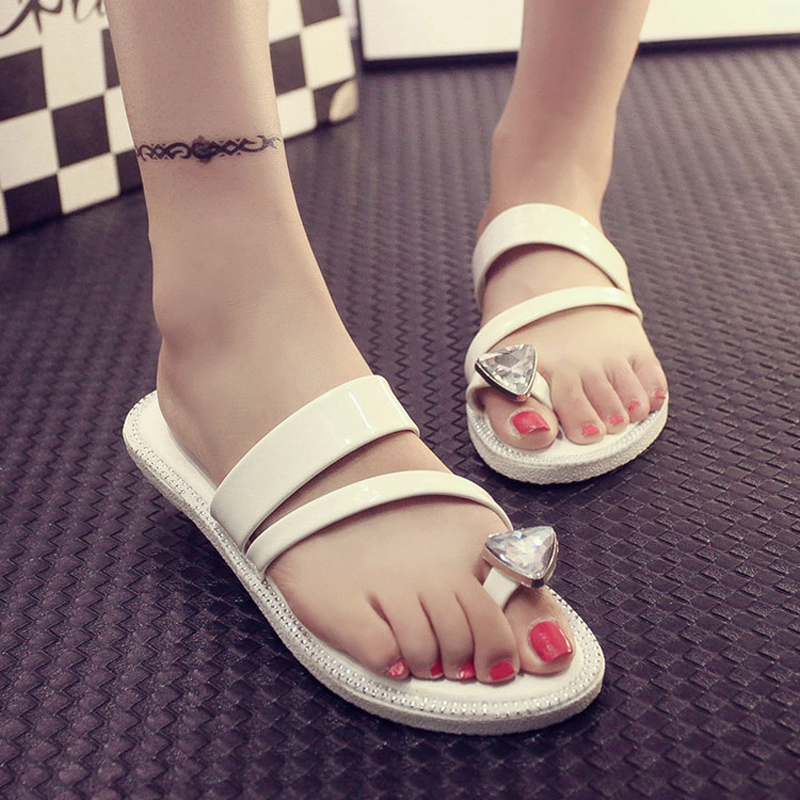 Packages mailed 2016 ms han edition summer toe flat cool slippers new fashion diamond flip-flops female slippers(China (Mainland))