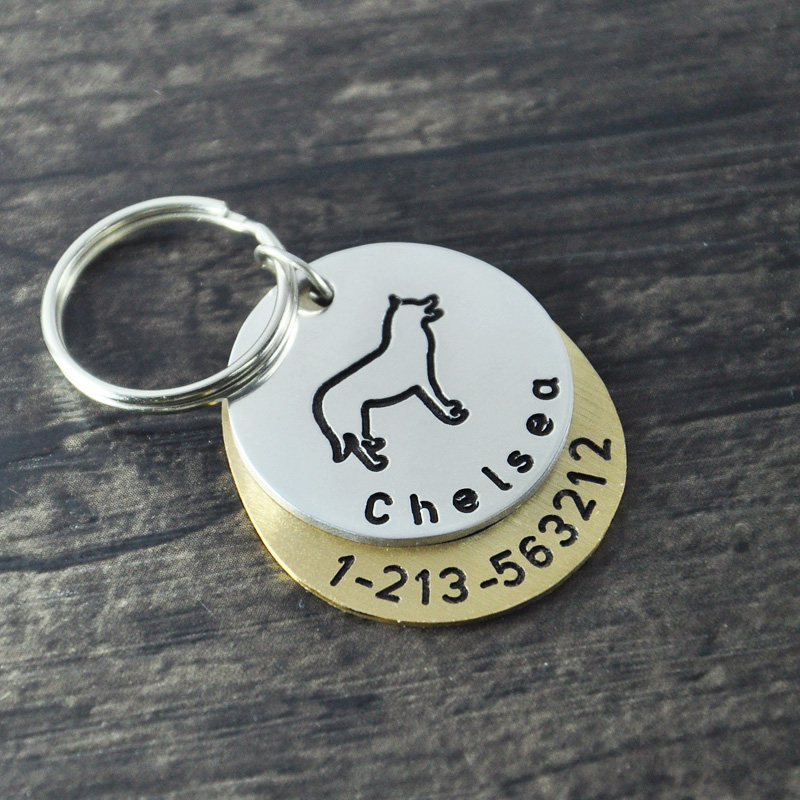 Personalized dogtags, Siberian Husky dog tag,Custom Dog ID Tag, Hand Stamped Identification Dog Tag, engraved name and number(China (Mainland))