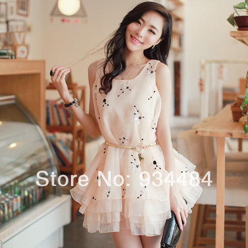 2014 Summer New Fashion Women Dress Pink Color 68011 Model Photo Attractive With Waist Belt Adorable Girl Dream(China (Mainland))