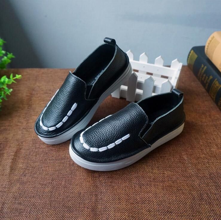 2016 Brand Designer chaussure enfant Kids Shoes ,Genuine Leather Children Sneaker Girl Boy Shoes Single Black White Eur26-36 .