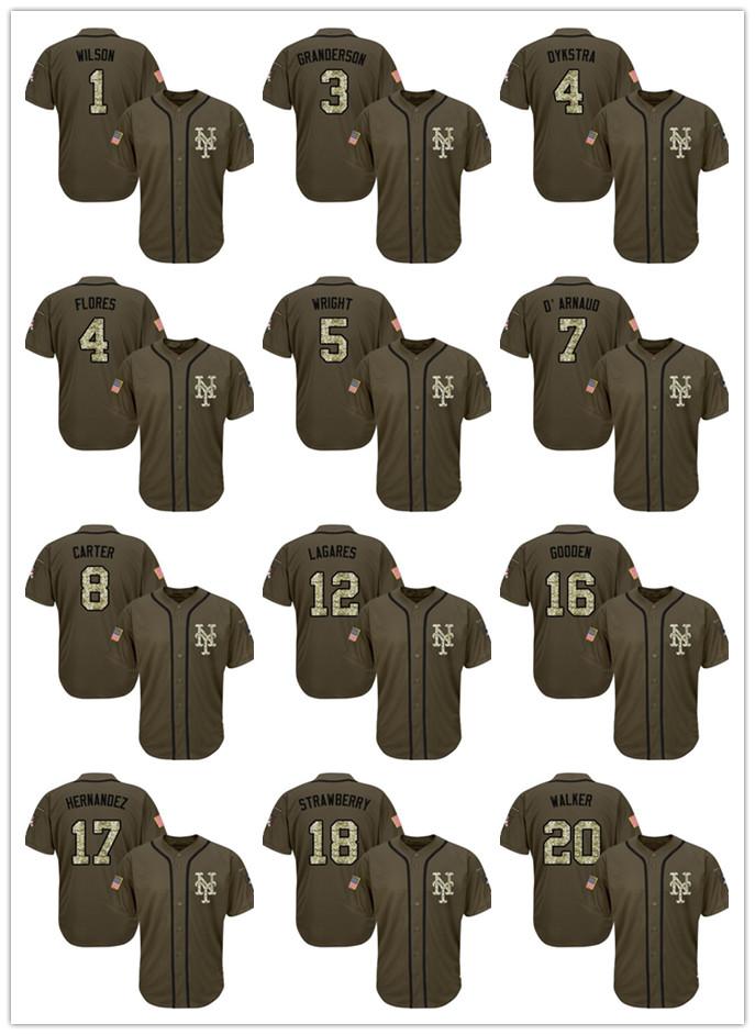Free Shipping #17 Keith Hernandez #5 David Wright #48 Jacob DeGrom #30 Nolan Ryan Green Salute to Service Baseball Jersey(China (Mainland))
