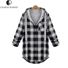 5XL Plus Size Fashion Women Clothing 2016 Spring Female Thin Jacket Plaid Coat Hoodies Shirt Ladies Long Sleeve Outerwear Coats