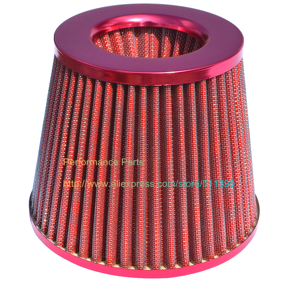 Racing Car Air Filter 76mm Diameter Universal Fitment Washable Racing Air Filter (Red, Blue, Carbon look)(China (Mainland))