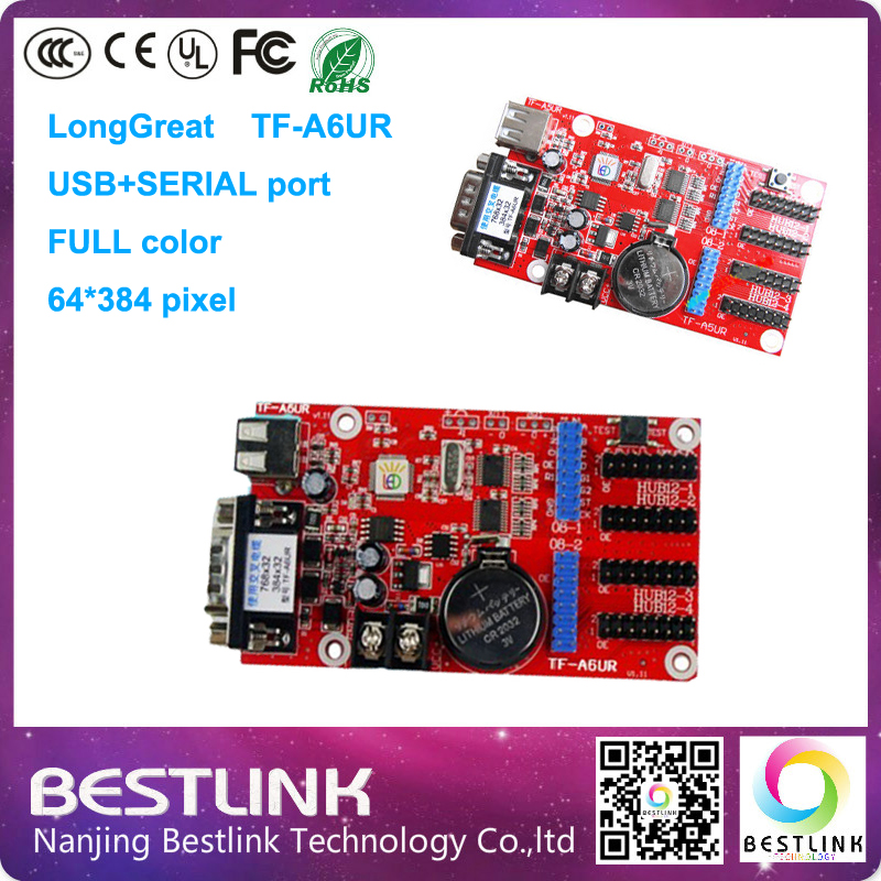 Longgreat TF-A6UR led control card 64*384 pixel USB SERIAL port controller card for p6 p8 p10 p12 p16 outdoor rgb led display(China (Mainland))