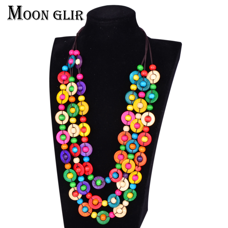 Bohemia ethnic Statement Necklace 2017 Fashion boho jewelry 2 color handmade Coconut shell diy beads Choker Necklace for women(China (Mainland))