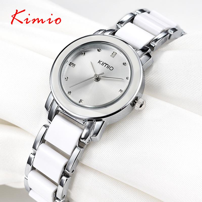 Brand Kimio 2016 Ladies Imitation Ceramic Watch Luxury Gold Bracelet Watches with Fine Alloy Strap Women Dress Watch(China (Mainland))