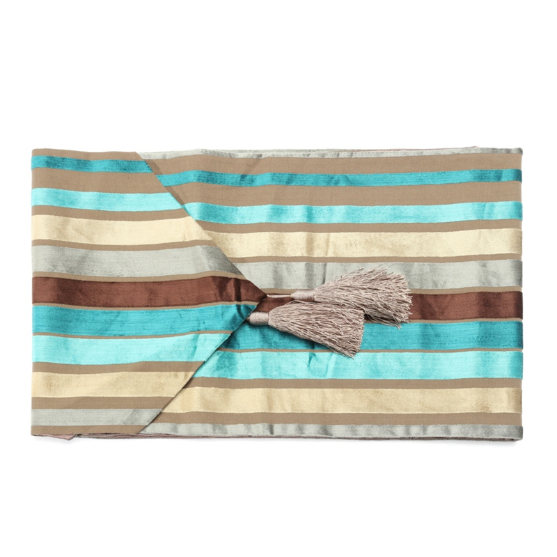 New Exquisite Table Runner Cloth Turquoise Stripe Velvet Fabric Tablecloth with Tassel for Wedding Party Home Decor 33x250cm(China (Mainland))