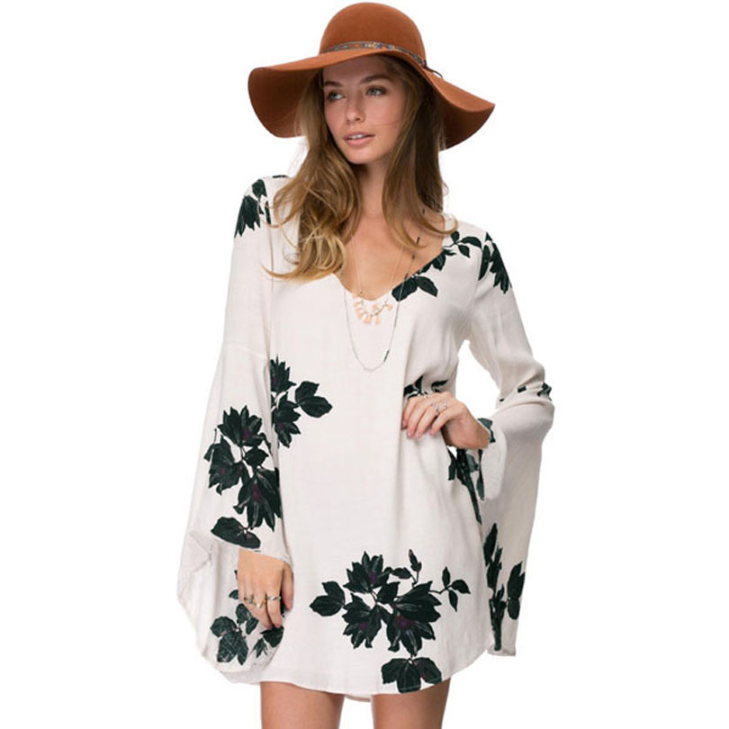 2016 spring summer vintage vestidos elegant dress lily prints unique hollow back Casual dress flare Long sleeve Blouse dress(China (Mainland))