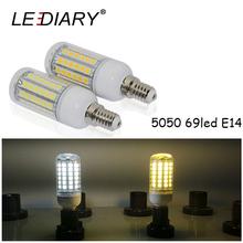 LEDIARY Super Brighter LED Corn Bulb E14 220V-240V SMD5050 69LED Clear Cover Warm/Cold White Energy Saving Lamp - Lighting Store store