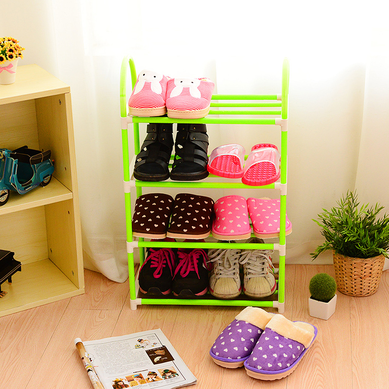 Cheap hostel Easy removable steel shoe rack four or five simple home storage plastic(China (Mainland))